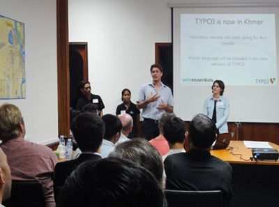 Web Essentials CEO Dominik Stankowski giving a speech about the translation of TYPO3 into Khmer language.