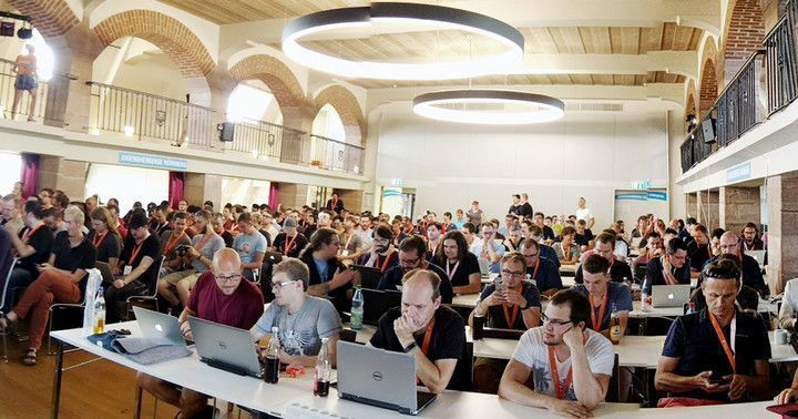 Panorama shot of all participants at the TYPO3 Developer Days 2016 in Nuremberg.