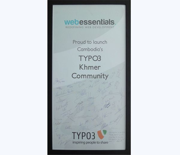 Wallposter reading; Proud to launch Cambodia's TYPO3 Khmer community.
