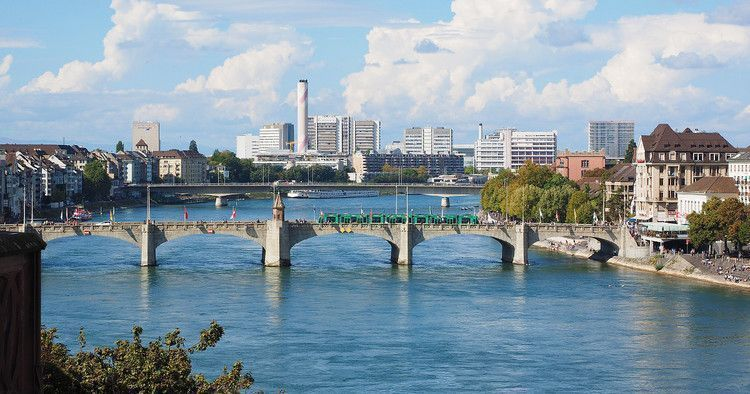 Panoramic picture of the Mittlere Brücke (Middle Bridge), the oldest bridge in Basel.
