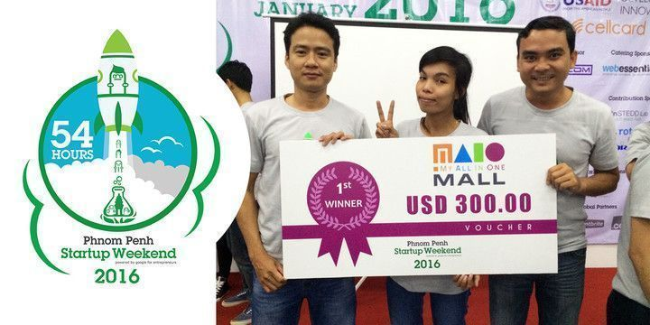 Web Essentials team members winning the First Prize during Startup Weekend Phnom Penh.