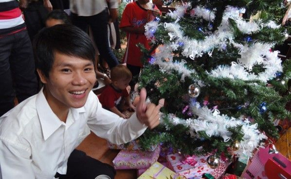A Cambodian Web Essentials' team member celebrating christmas day.
