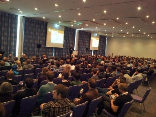 Wide angle view of the audience at the T3CON14 EU conference in Berlin.