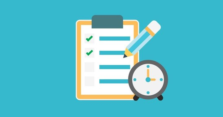 Flat vector illustration showing a clipboard with a checklist and a clock