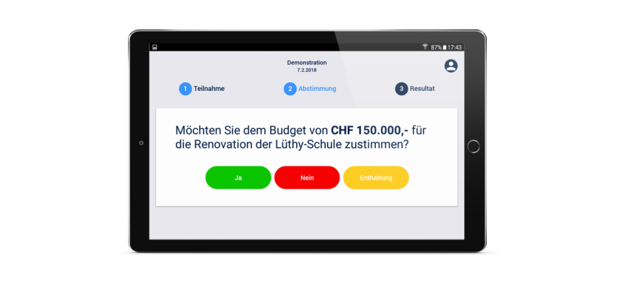 omnivote E-Voting Tablet-Ansicht