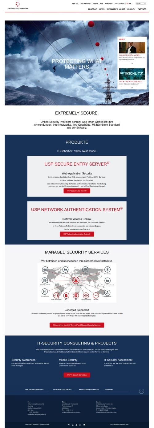 united security providers old website design
