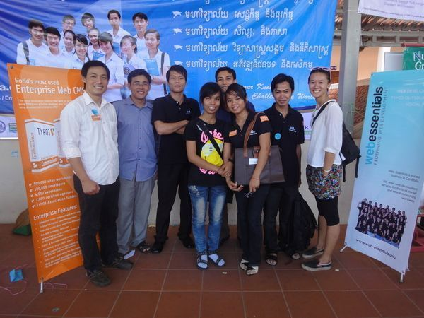 A group photo of Web Essentials developers visiting Barcamp in Phnom Penh.