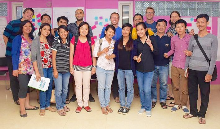 Group photo of all participants of the first Scrum.org certified Scrum Master training in Cambodia.