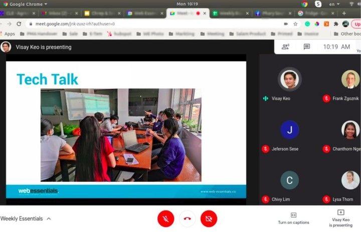 A screenshot of Web Essentials's weekly online meeting