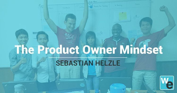 Product Owner Sebastian Helzle with his Scrum team at Web Essentials in 2014.