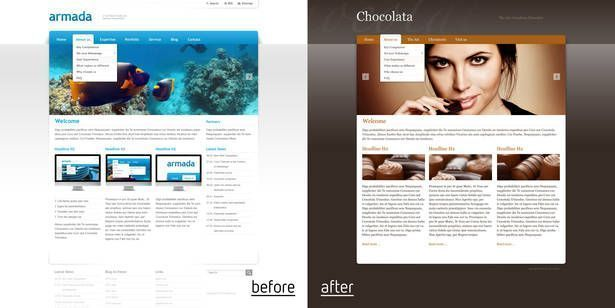 Comparison of two webpage layouts displaying the same content, using a different theme.