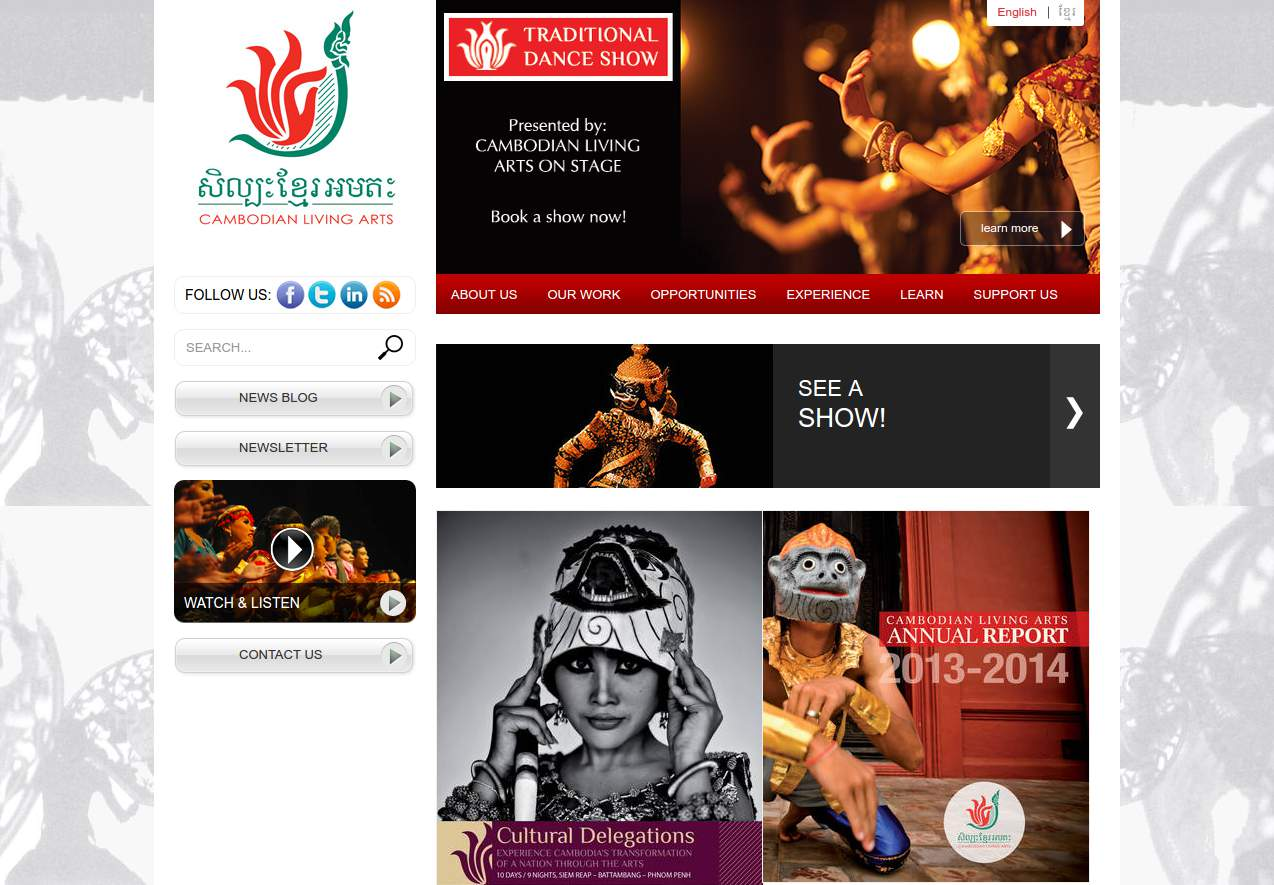 Cambodian Living Arts TYPO3 website