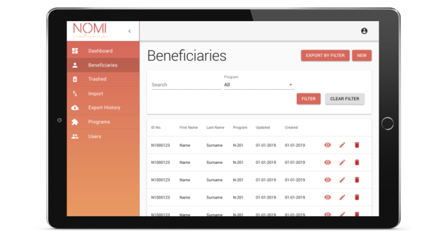 Tablet view of NOMI Beneficiary System